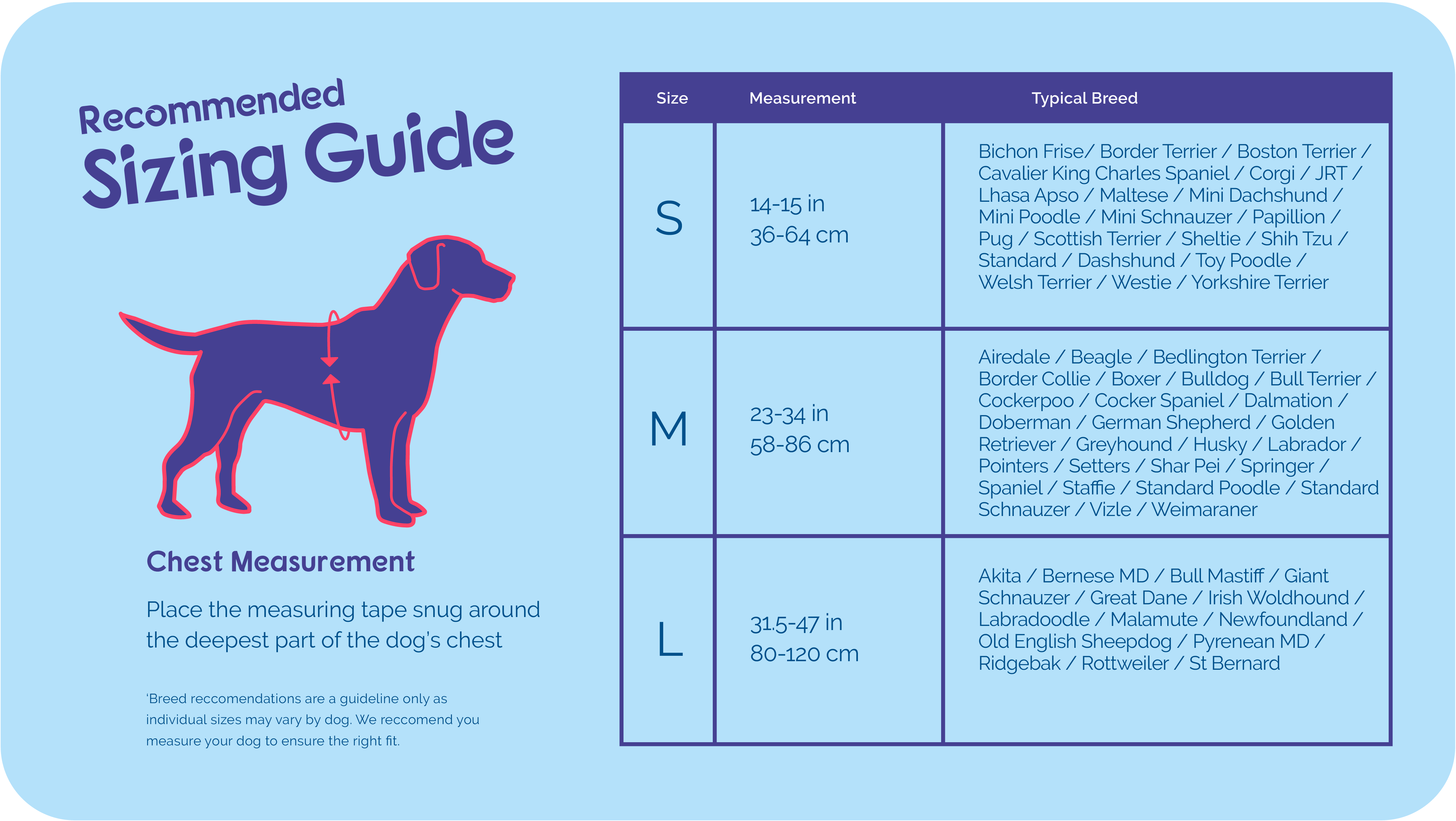Size guide for Halti Front Control Harness