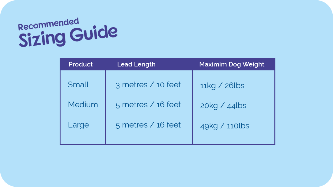 Size guide for Halti Retractable Leads